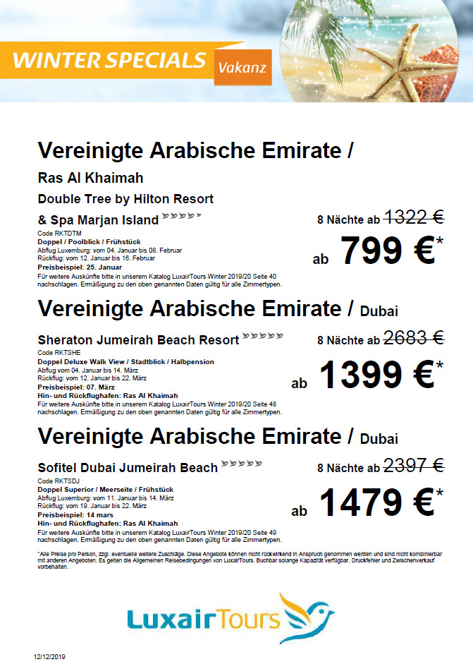 Luxair Tours Winter Specials