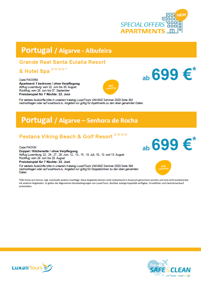 Luxair Tours Special offers Appartment