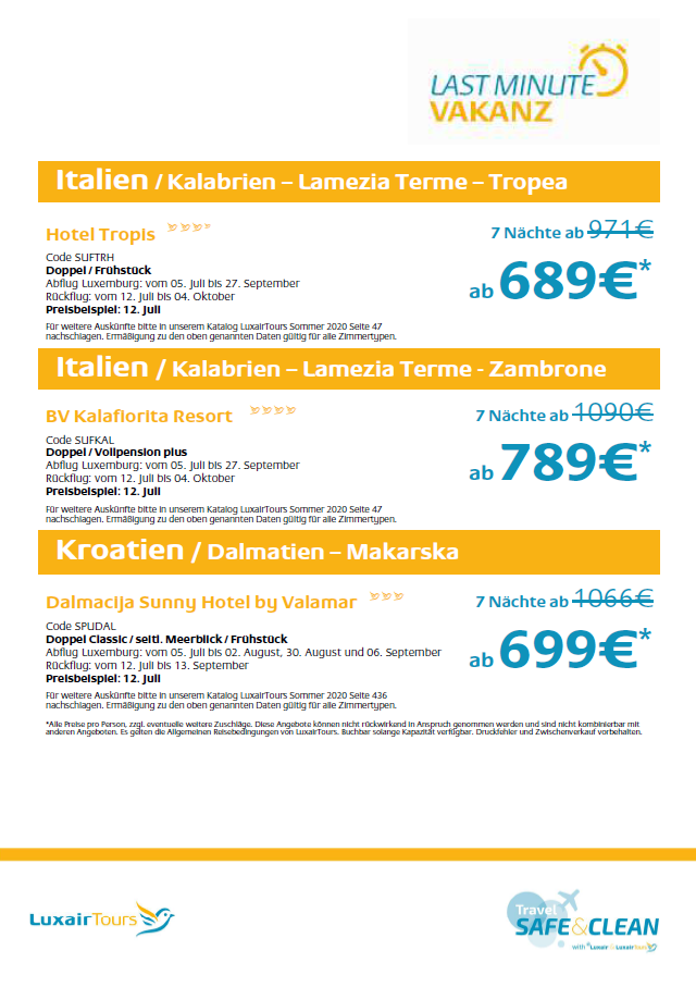 Luxair Tours Special
